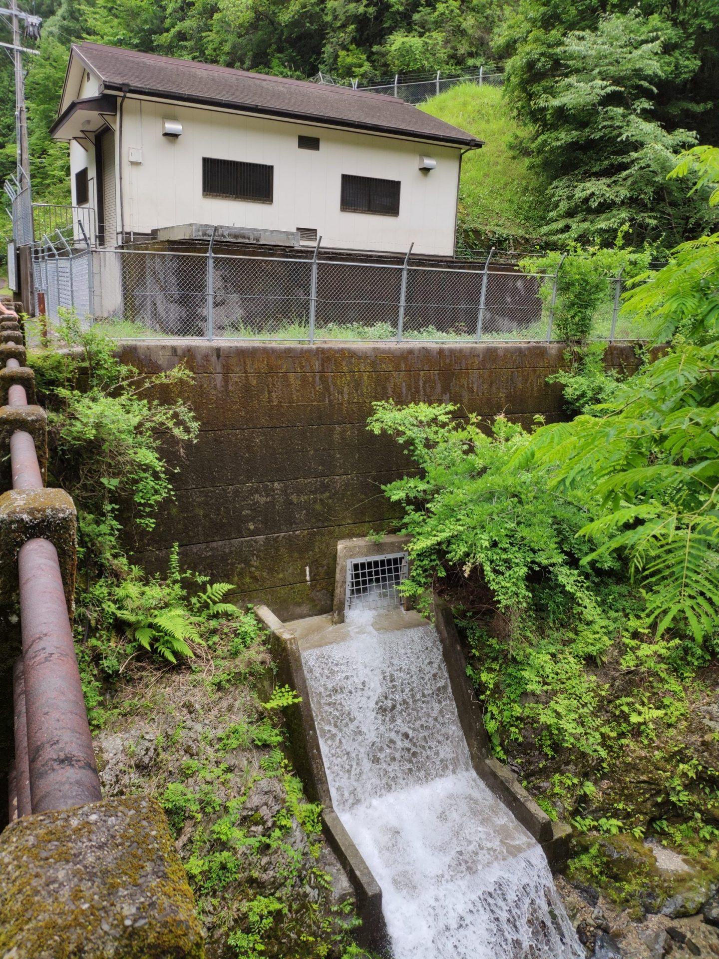 下北山村水力発電所 排水口